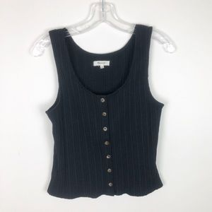 Madewell Ribbed Black Button Front Tank